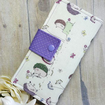 Hedgehog Print women's wallet, Handmade fabric wallet, bifold wallet, slim clutch wallet, credit card wallet, checkbook wallet, gift idea