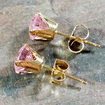 Pink 14k Gold Stud Earrings Pink Gemstone Cubic Zirconia 6 mm Stones Sparkling Precious Pink Adult Size Pierced Stud Earrings