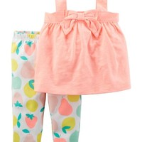 2-Piece Neon Bow Tank & Fruit Legging Set