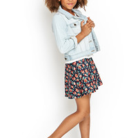 FOREVER 21 GIRLS Floral Scuba Knit Skirt (Kids) Navy/Orange