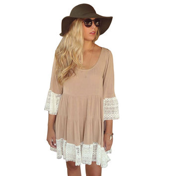 Lace Sleeve A-Line Loose Dress