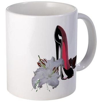 BLACK STILETTO SHOES AND LILIES MUG