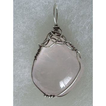 Rose Quartz Stone Pendant Wire Wrapped .925 Sterling Silver