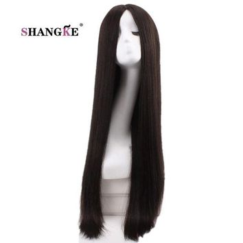 DCCKH0D SHANGKE 30'' Long Straight Black Wig Women Hairstyles Heat Resistant Synthetic Wigs For Black Women African American Hairpieces