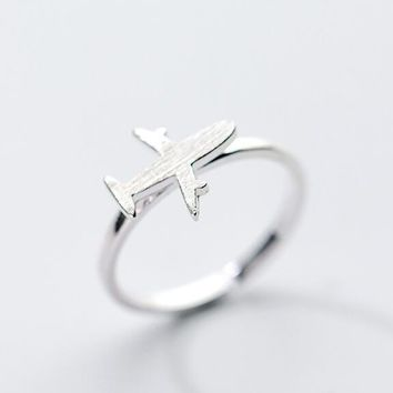 Airplane Plane Ring 100% REAL.925 Sterling Silver fINE jEWELRY GTLJ1286