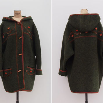 Hallstatt Coat - Vintage 1980s Khaki Green Duffle Coat - Boiled Wool Hooded Embroidered Military Green Coat Size Medium to Large
