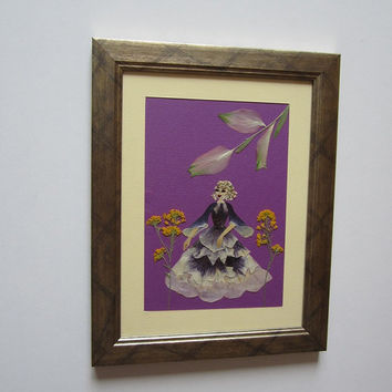 "Unique picture from pressed flowers ""Promenade"" - Pressed flowers art - Original art collage - Home decor - Framed picture."