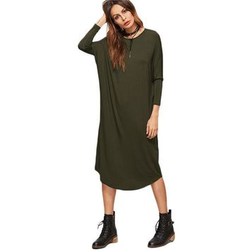 Olive Green Tee Dress Women