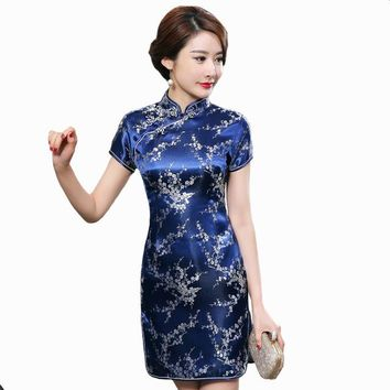 Blue, Gold, White, Black, Red Floral Collection Silk Short Cheongsam One-piece Chinese Qipao Dress
