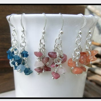 Cluster Gemstone Blue Pink Orange Dangle Chain Earrings - Rainbow Clusters - by Off on a Whim Handmade in Japan