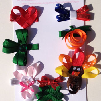 Seasonal hair clip set, heart bow, shamrock bow, easter bow, 4th of july hair clip, pumpkin hair clip, thanksgiving bow, christmas ribbon