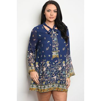 Ladies plus size long sleeve floral print skater dress that features a necktie and bell sleeves