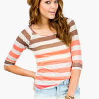 Multi Stripe Roll Sleeve Slub Top
