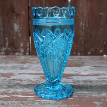 Light Blue Glass Vase or Goblet with Daisy and Button Pattern | Vintage Wedding Decor
