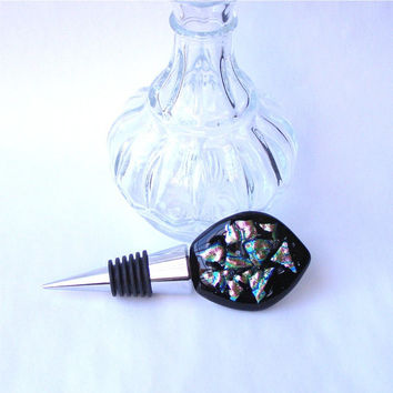 Wine Bottle Stopper - Fused Glass Bottle Stopper - Pink Dichroic and Black Glass