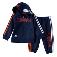 adidas Fast Fleece Full-Zip Hoodie & Pants Set - Baby Boy, Size: