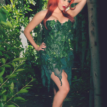 Poison Ivy 3 pc Corset Costume Set Batman Villan Custom Size