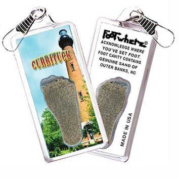 Outer Banks, NC FootWhere® Souvenir Zipper-Pull. Made in USA