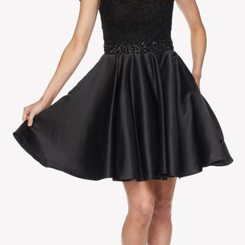 Black Cold Shoulder Homecoming Dress Embellished Waist Lace Top