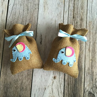 10 elephant baby shower burlap favor bags, boat favor bag, baby girl, baby boy.