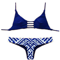 Blue Brazilian Vintage Triangle Swimwear Bikini Bandeau Push Up Bra