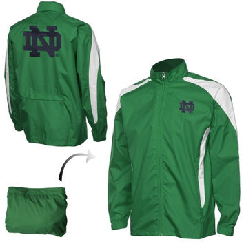 Notre Dame Fighting Irish Full Zip Packaway Jacket - Kelly Green