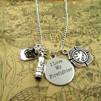 Fire Department necklace Firefighter necklace , Antique silver  FIRE DEPT.,I love my firefighter,firefighter hat necklace