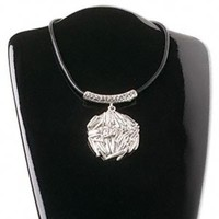 Silver Art Deco Large Statement Pendant Necklace with Black Cord