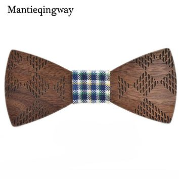 Mens Wood Bowtie For Wedding Marriage Handmade Wooden Bow Tie For Grooms Bowknots Collar Gravatas Cravat