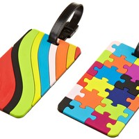 Travelon Puzzles and Swirls Set Of 2 Luggage Tags, Assorted, One Size