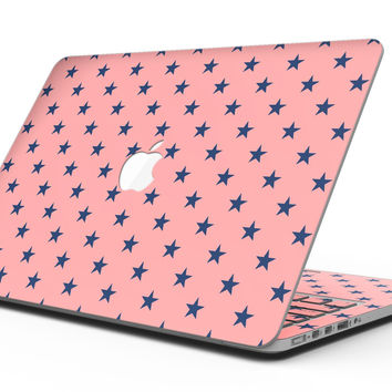 Navy Stars Over Coral Pattern - MacBook Pro with Retina Display Full-Coverage Skin Kit