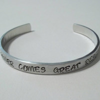 """Custom hand stamped aluminum bracelet cuff 1/4"""" by 6"""" with great power comes great responsibility Spiderman"""