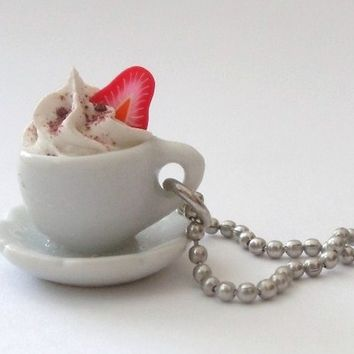 coffee cup necklace Pendant alice in wonderland with whipped cream and strawberry polymer clay ball chain necklace white frosting