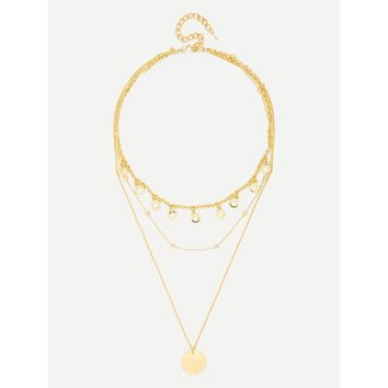 Gold Round Pendant Link Necklace With Ring Charm