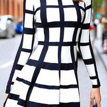 White Plaid Long Sleeve Mini Dress