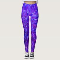 Pink Purple Blue Abstract with Personalized Name Leggings