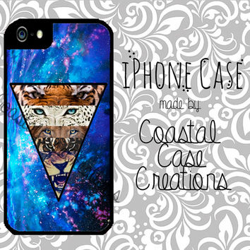 Blue Galaxy Space Lion and Tiger Apple iPhone 4 4G 4S 5G Hard Plastic Cell Phone Case Cover Original Trendy Stylish Design