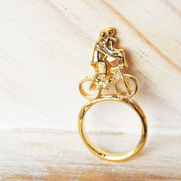Romantic ride - pale gold finish ring for Valentine's and every day