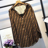 Fendi New fashion more letter loose leisure long sleeve top shirt Brown