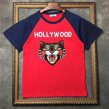ca qiyif Men Embroidery Leopard Hollywood T Shirts