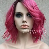 Hot Brazilian Hot Pink Wavy Human Hair Wig Silk base Lace front Full lace 10-12""
