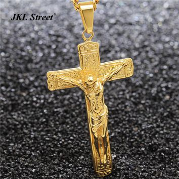 Men's Stainless Steel  Gold Color Jesus Cross Christ Crucifix Pendant with Miami Cuban Chain  Religious Necklace JF2264