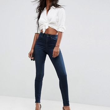 ASOS SCULPT ME High Waisted Premium Jeans in Vivienne Dark Wash at asos.com