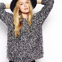 Long-Sleeve Fringed Knitted Shirt