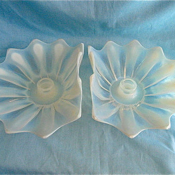 Opalescent Lotus Flower Candle Holders
