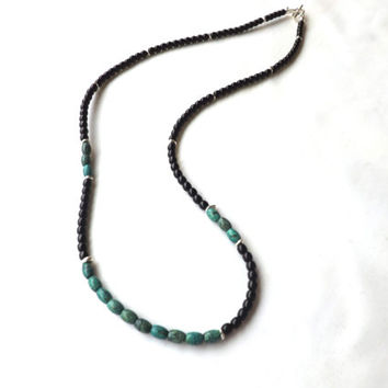 Mens Necklace with Natural Turquoise, Black Onyx, and Bali Sterling Silver