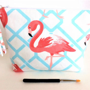 Large Makeup Bag, Flamingo Makeup Bag, Flamingo Zipper Pouch, Large Cosmetic Bag