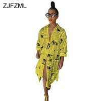 ZJFZML Casual Printed T Shirt Dress Women White Long Sleeve Front Split Party Dress Casual Yellow Turn-Down Collar Buttons Dress