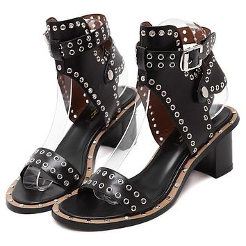 Hasp Rivets Open Toe Ankle Wraps Cut Out Low Chunky Heels Sandals