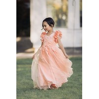 Ariana Coral Pink Petal Sleeve Satin & Lace Dress Gown